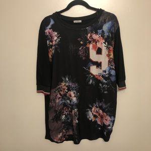 Zara floral long sleeve shirt black large
